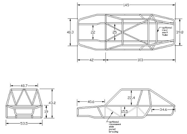 dune buggy frame dimensions